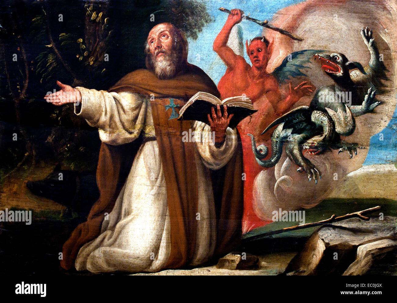 Tentación de San Antonio Abad - La Tentation de Saint Antoine de Alonso Antonio Villamor Espagnol Espagne 1661 Photo Stock