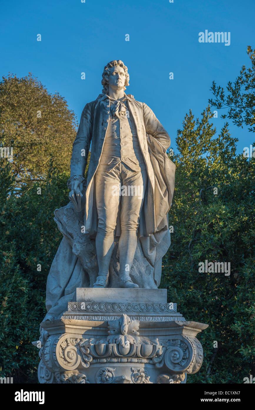 Monument de Goethe, en 1904, sculpteur Gustav Eberlein, Pinciano, Rome, Latium, Italie Photo Stock