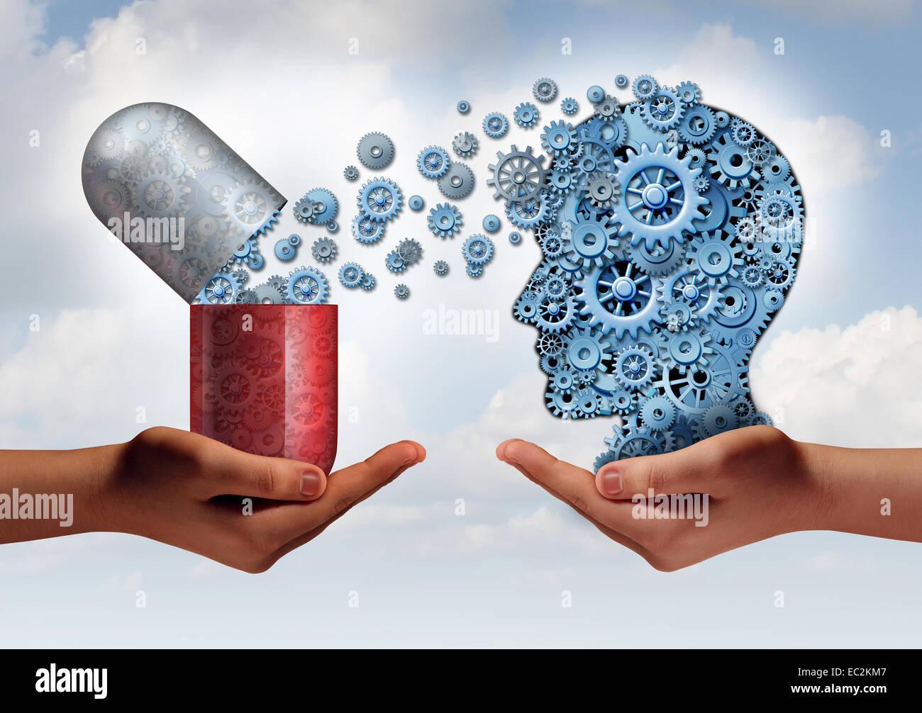 La médecine du cerveau comme concept de soins de santé mentale mains tenant un comprimé capsule libérant Photo Stock