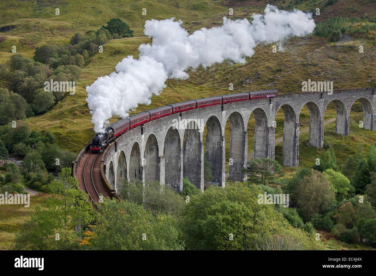 Le train à vapeur Jacobite sur le viaduc de Glenfinnan, West Highland Line en Ecosse. Banque D'Images