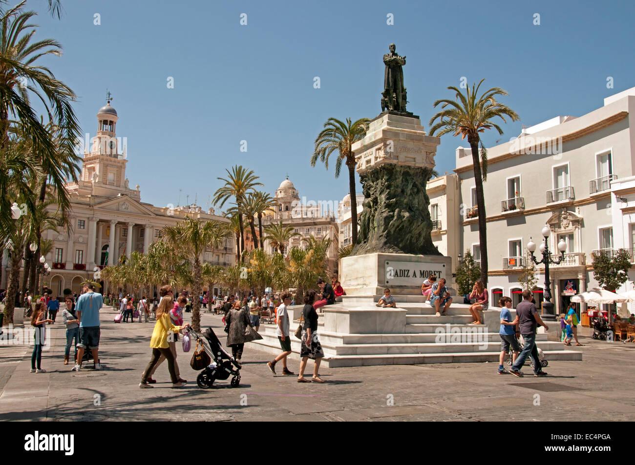 Place de la Cathédrale de Cadix (Plaza de la Catedral) Andalousie Espagne Espagnol Banque D'Images