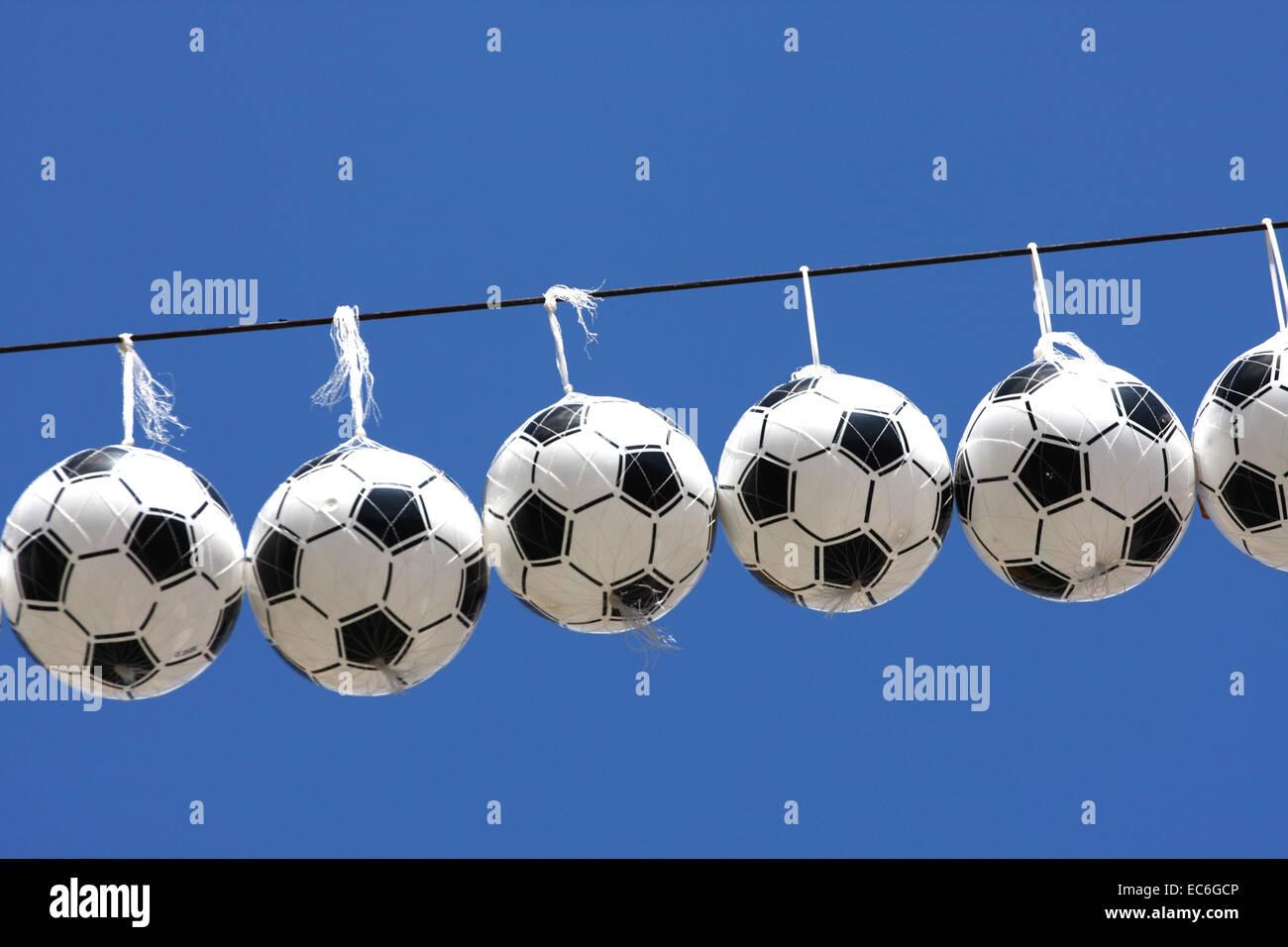 Ballons de football Banque D'Images