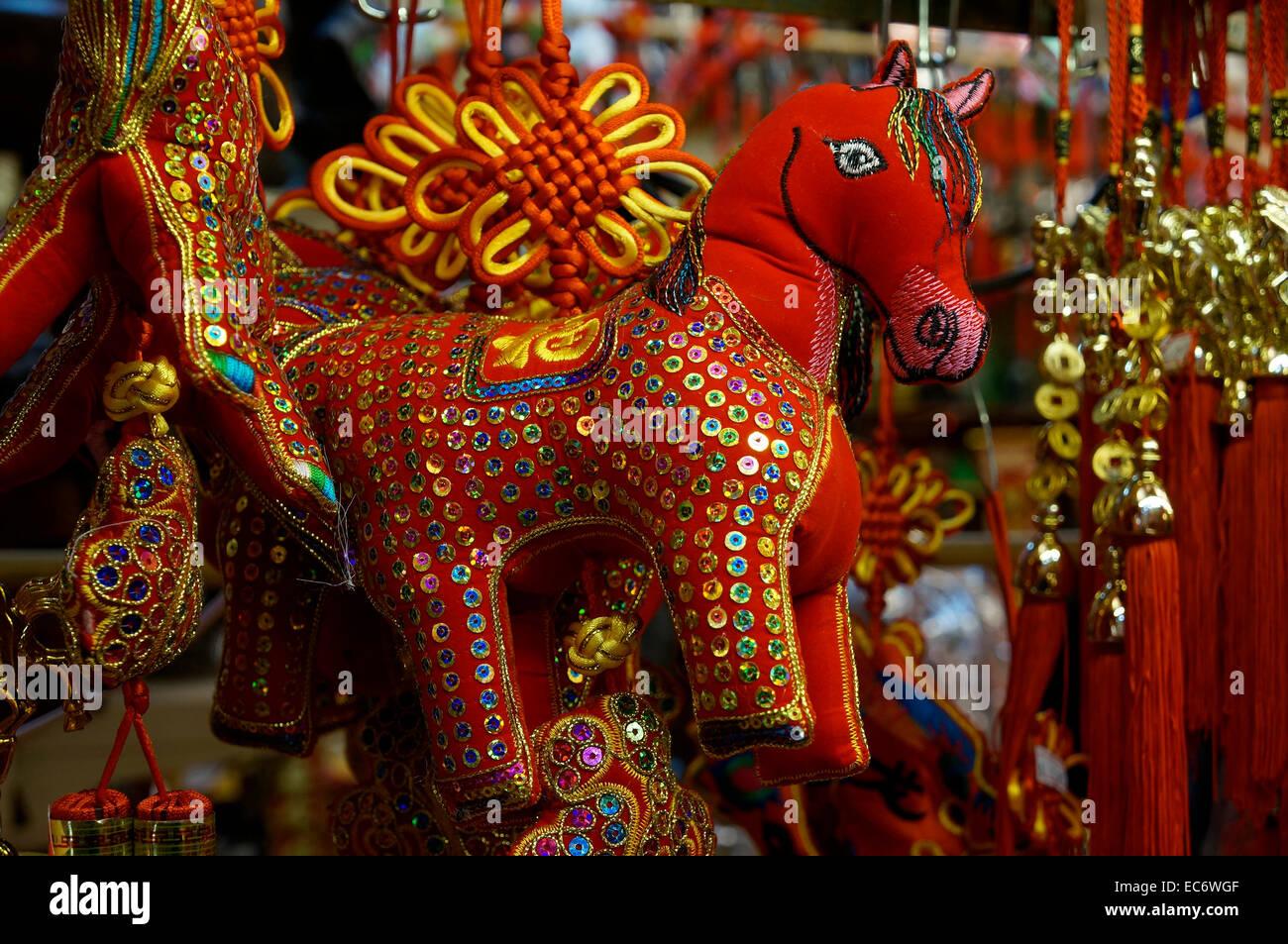 Chinois brodé année du cheval 2014 décoration tissu peluche, Vancouver, BC, Canada Photo Stock