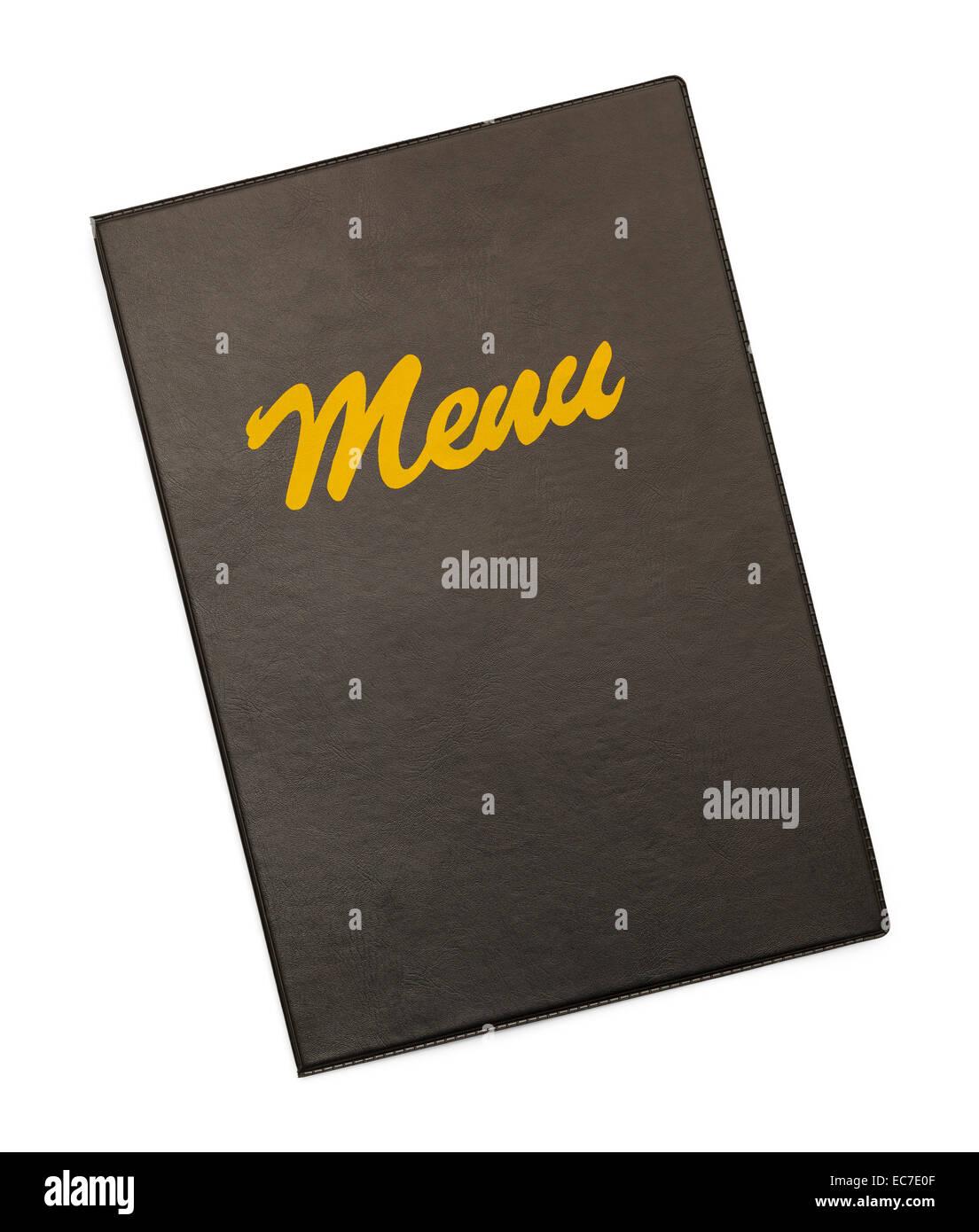 Menu noir avec couvercle Menu or isolé sur fond blanc. Photo Stock