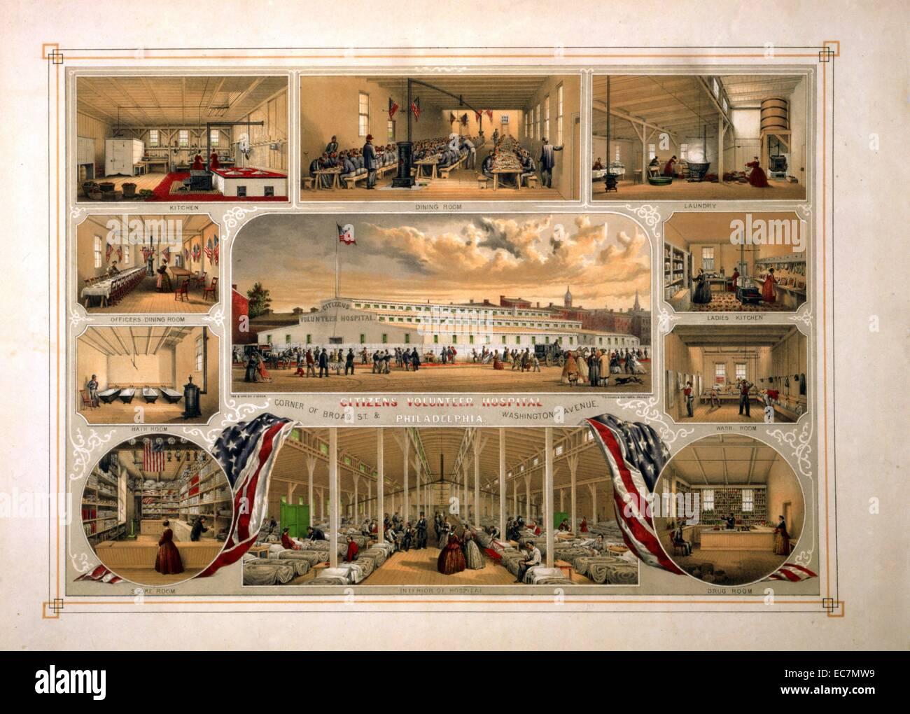 Vue extérieure et une vue sur l'intérieur de dix bénévoles des citoyens, à l'angle Photo Stock