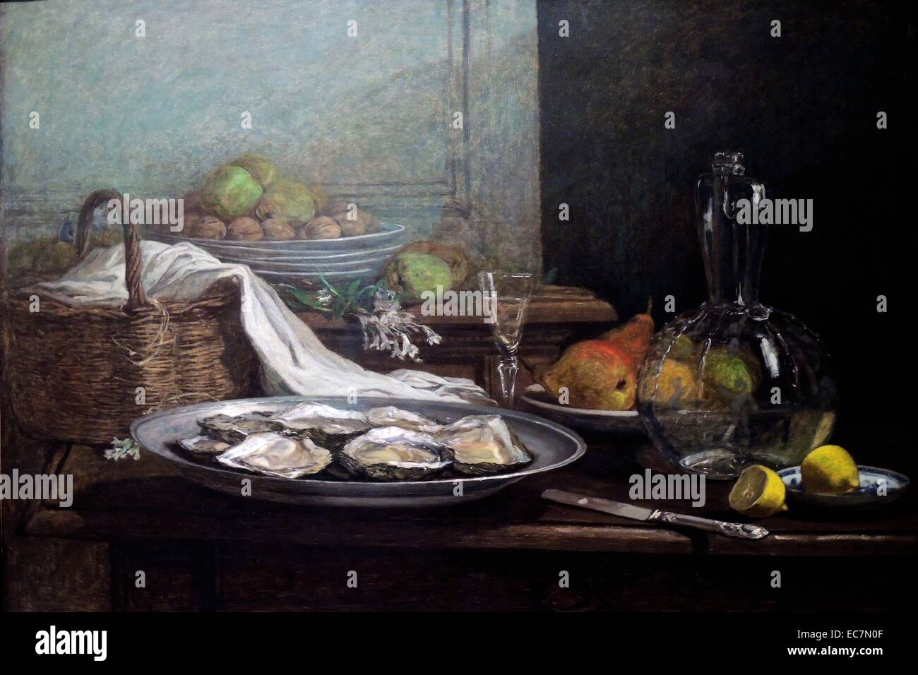Nature morte aux huîtres par Eugène Boudin Photo Stock
