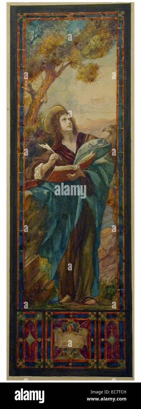Dessin de conception pour vitrail de style Renaissance avec St. John comme nimbés figure avec la douille. Publiés Photo Stock