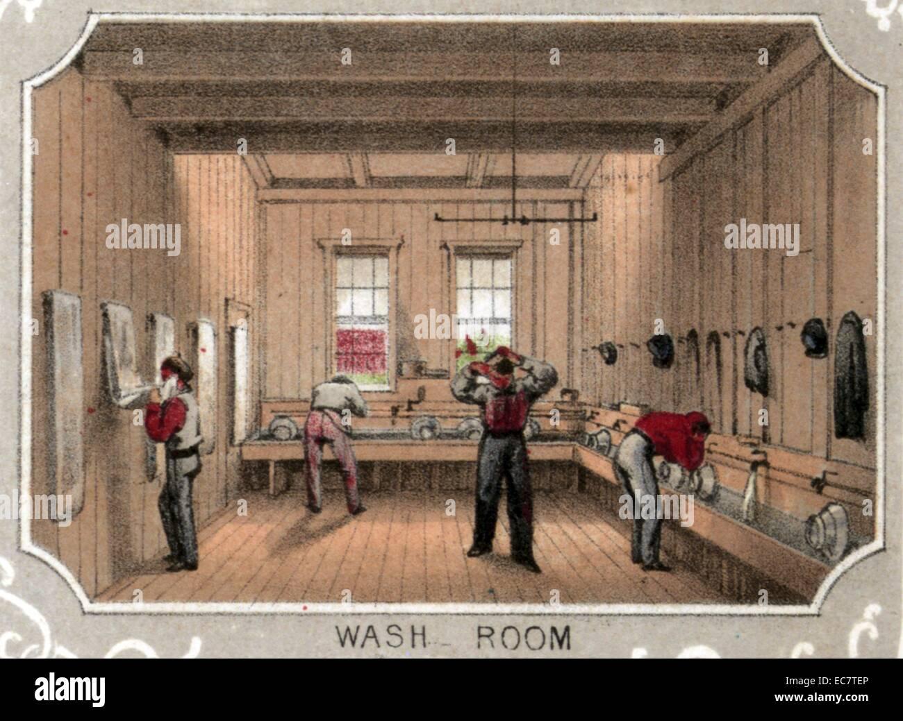 Les patients salle de bains dans l'hôpital bénévole des citoyens, à l'angle de la rue Photo Stock