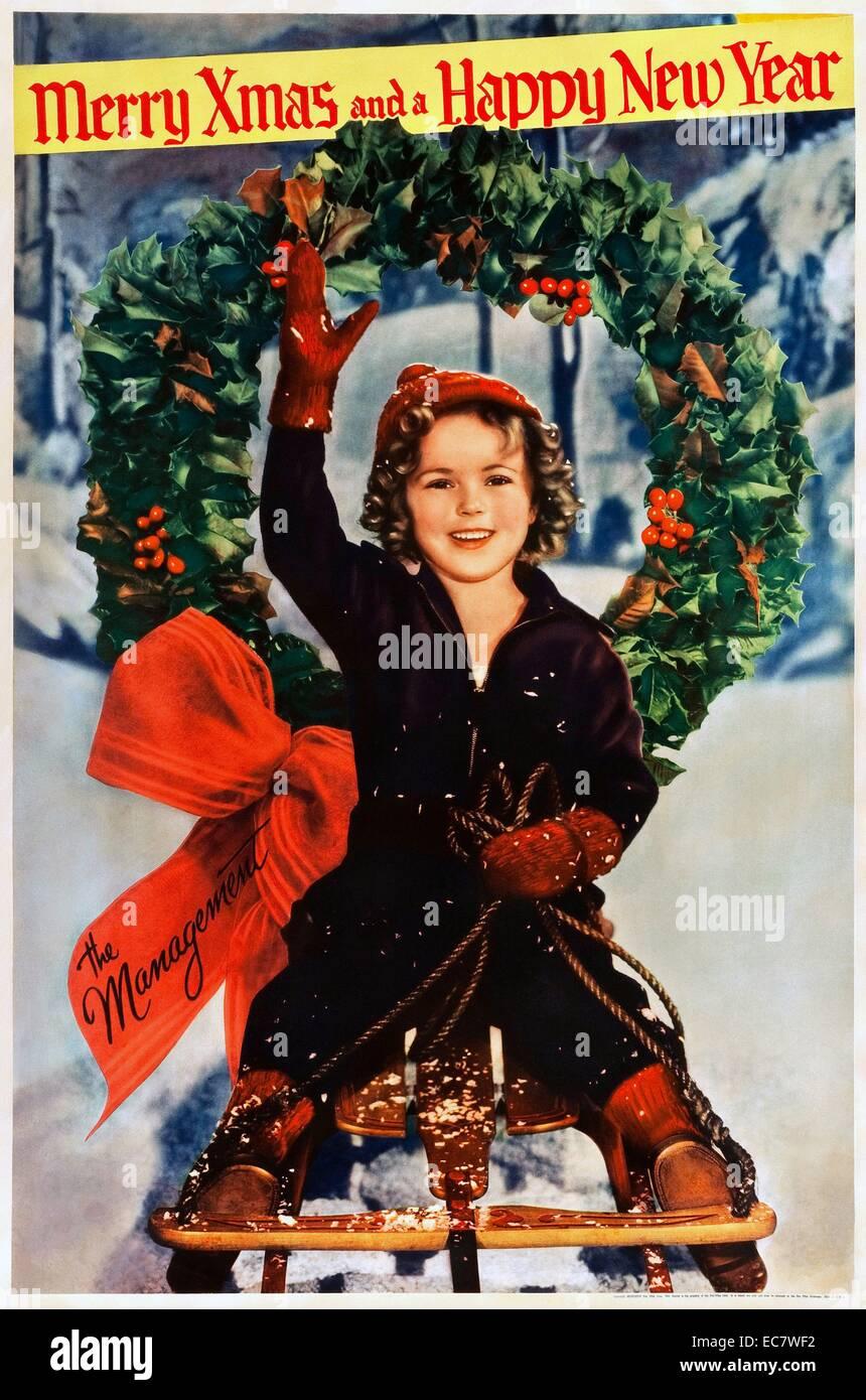 Shirley Temple affiche de Noël à partir de 1934. Shirley Temple est une actrice américaine, chanteuse, danseuse Banque D'Images