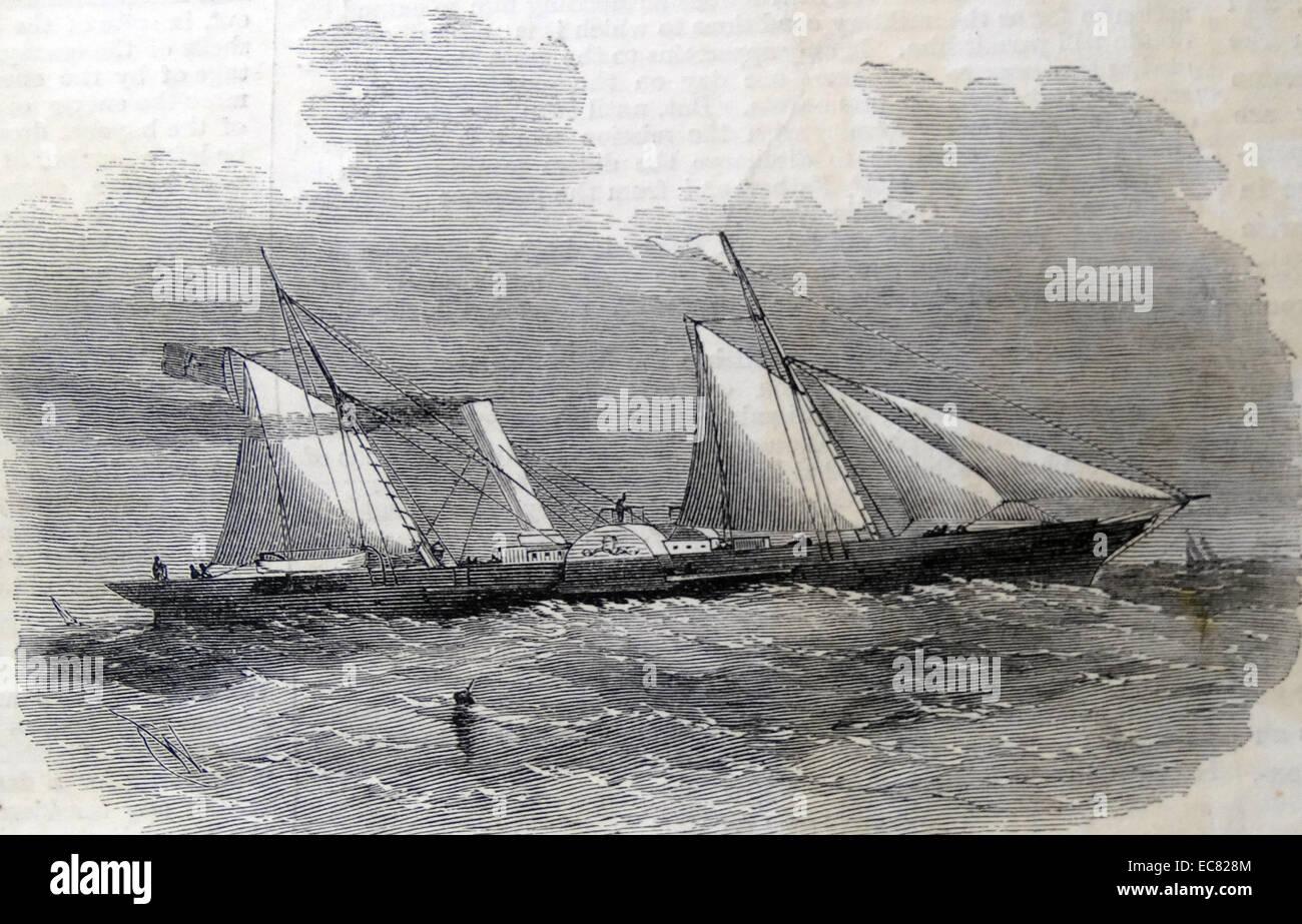 L 'Fairy Queen' Paddle-Wheel dispatch-voile pour le Général Garibaldi; septembre 1860. Photo Stock