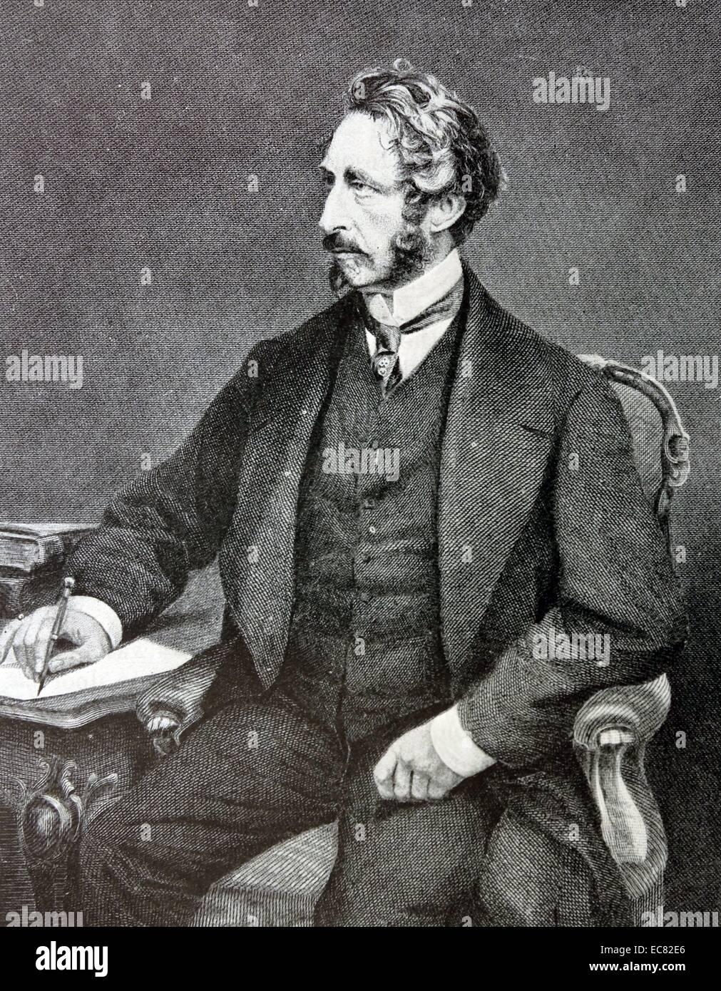 Gravure d'Edward Bulwer-Lytton (1831-1891) Homme d'État anglais, poète et vice-roi de l'Inde. Datée 1878 Banque D'Images