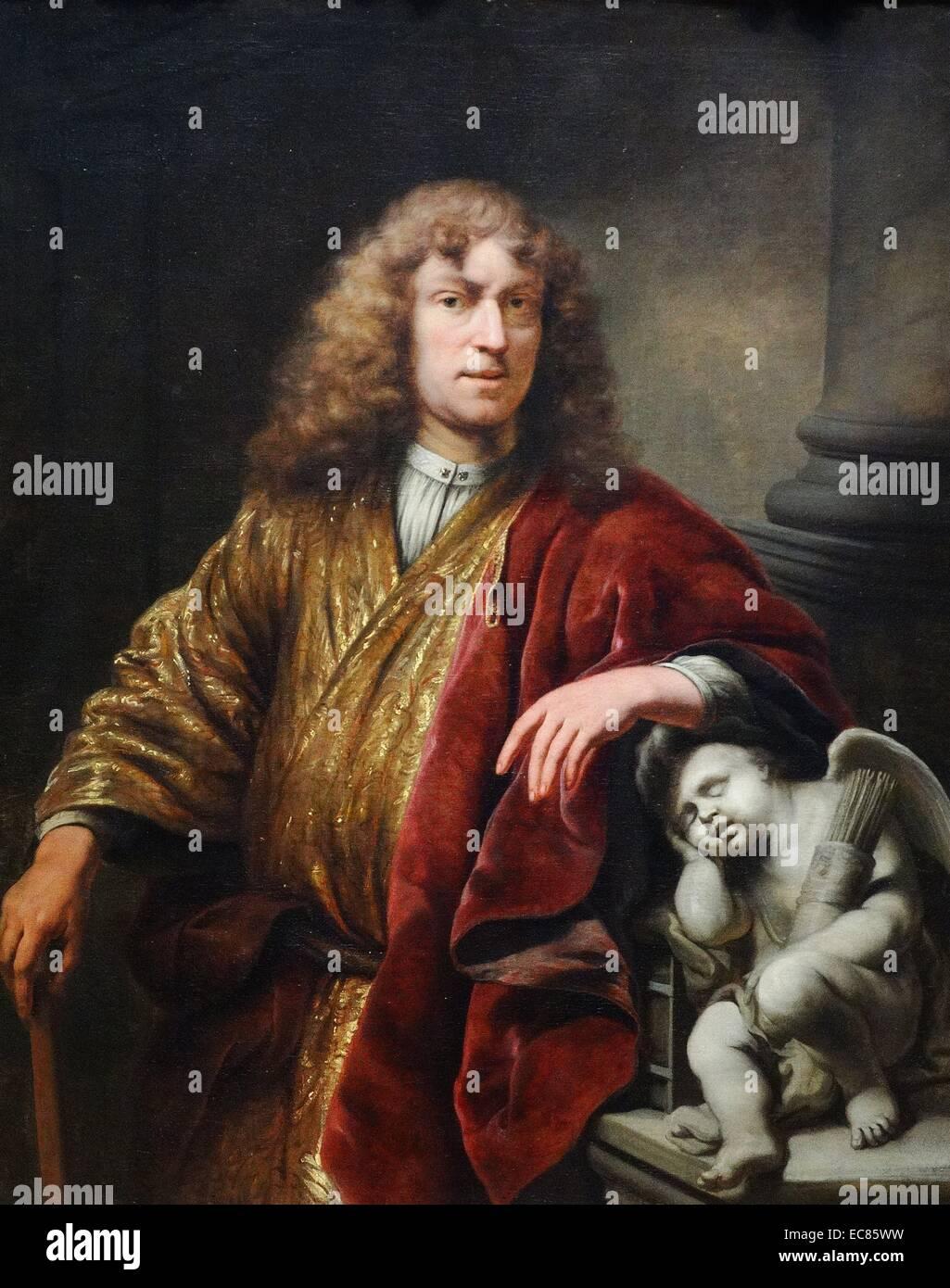 Autoportrait de Ferdinand Bol (1616-1680) artiste néerlandais, aquafortiste et rapporteur pour avis. En date Photo Stock