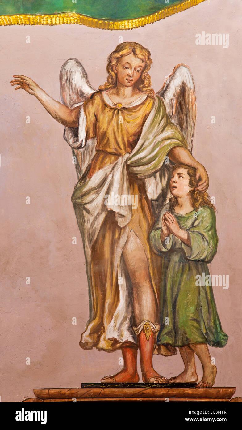 Séville - La fresque de l'ange gardien baroque à l'église d'Hospital de los Venerables Photo Stock