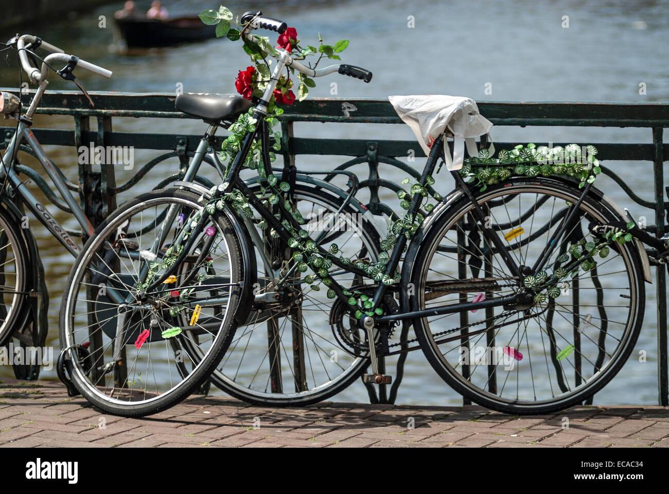 Vieux vélo unique avec des roses en stationnement sur un pont dans le centre-ville d'Amsterdam, Pays-Bas. Banque D'Images