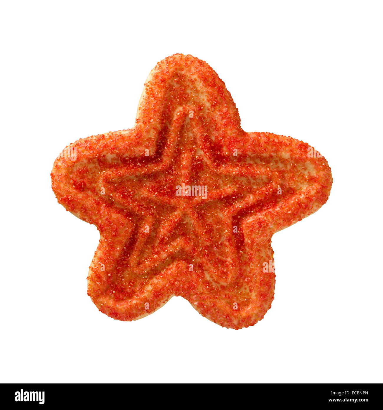Red Christmas Star Cookie avec paillettes. Photo Stock