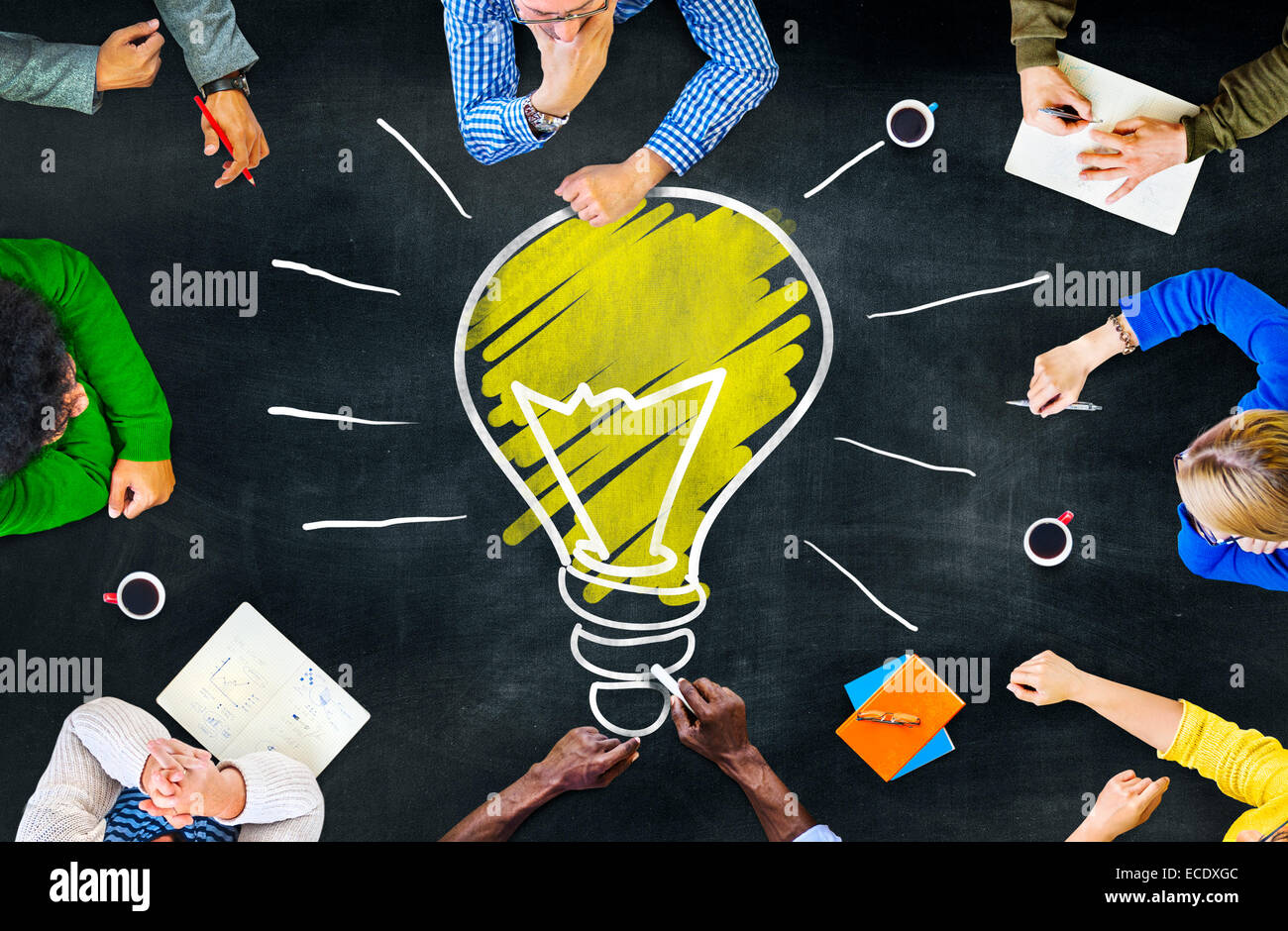 La connaissance des pensées des idées d'apprentissage Intelligence Concept Réunion pensées Photo Stock