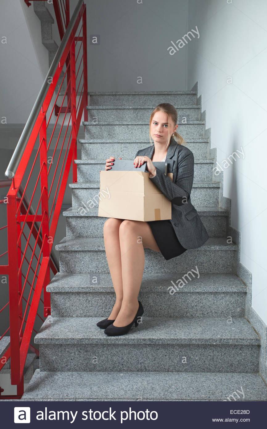 Femme d'affaires appuyée sans création d'emploi Photo Stock