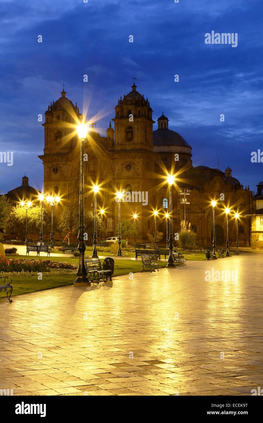 La Compania de Jesus (Compagnie de Jésus) Église sur la Plaza de Armas, Cusco, Pérou Photo Stock