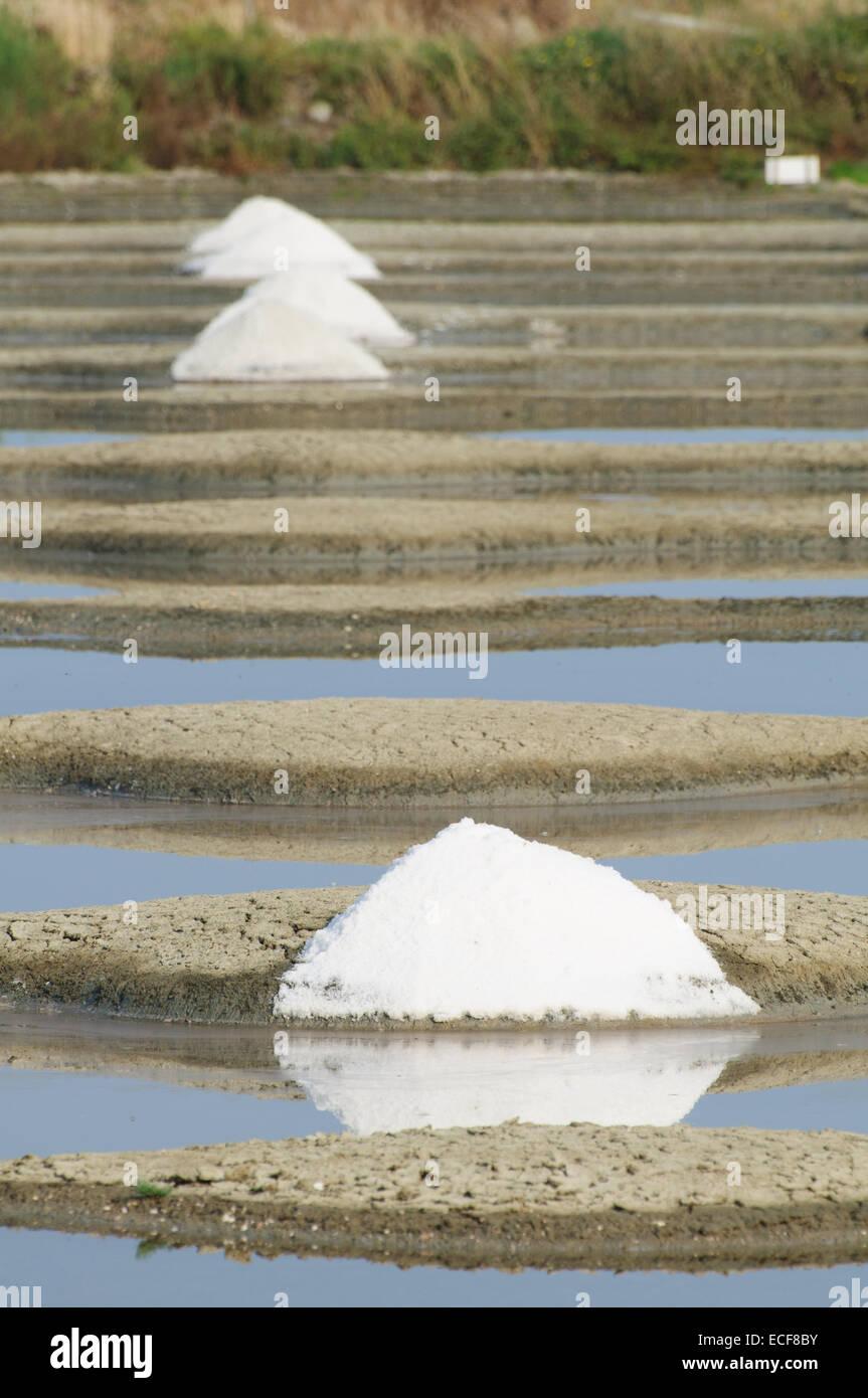 Fleur de Sel Sel Piscines pour produire le sel Photo Stock