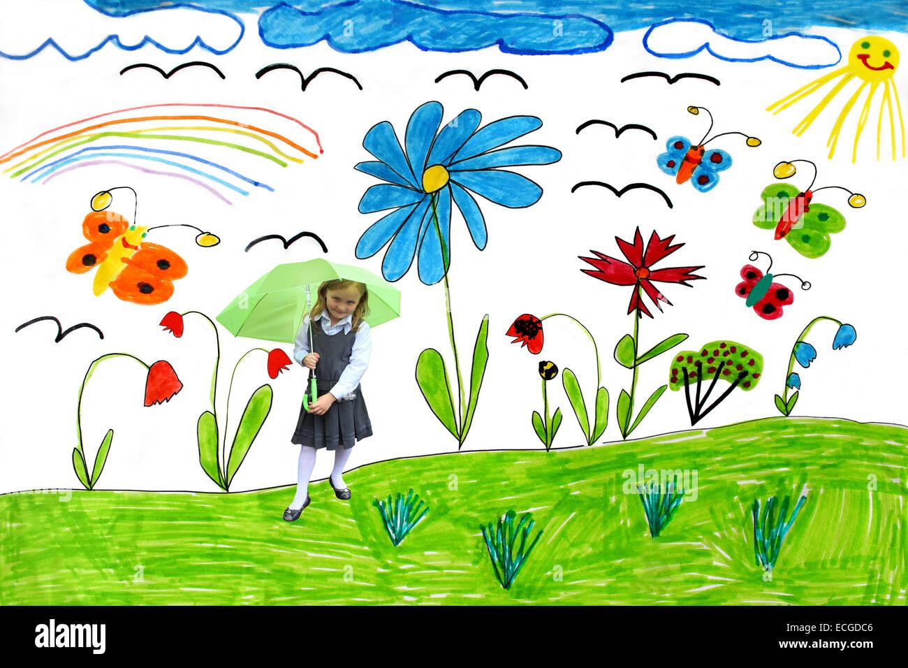 De Dessins D Enfants Multicolores Avec Papillons Et Fleurs
