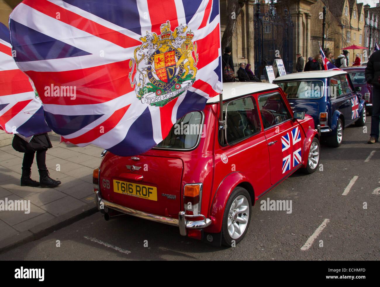 Classic Mini car sur l'affichage à Oxford. Photo Stock
