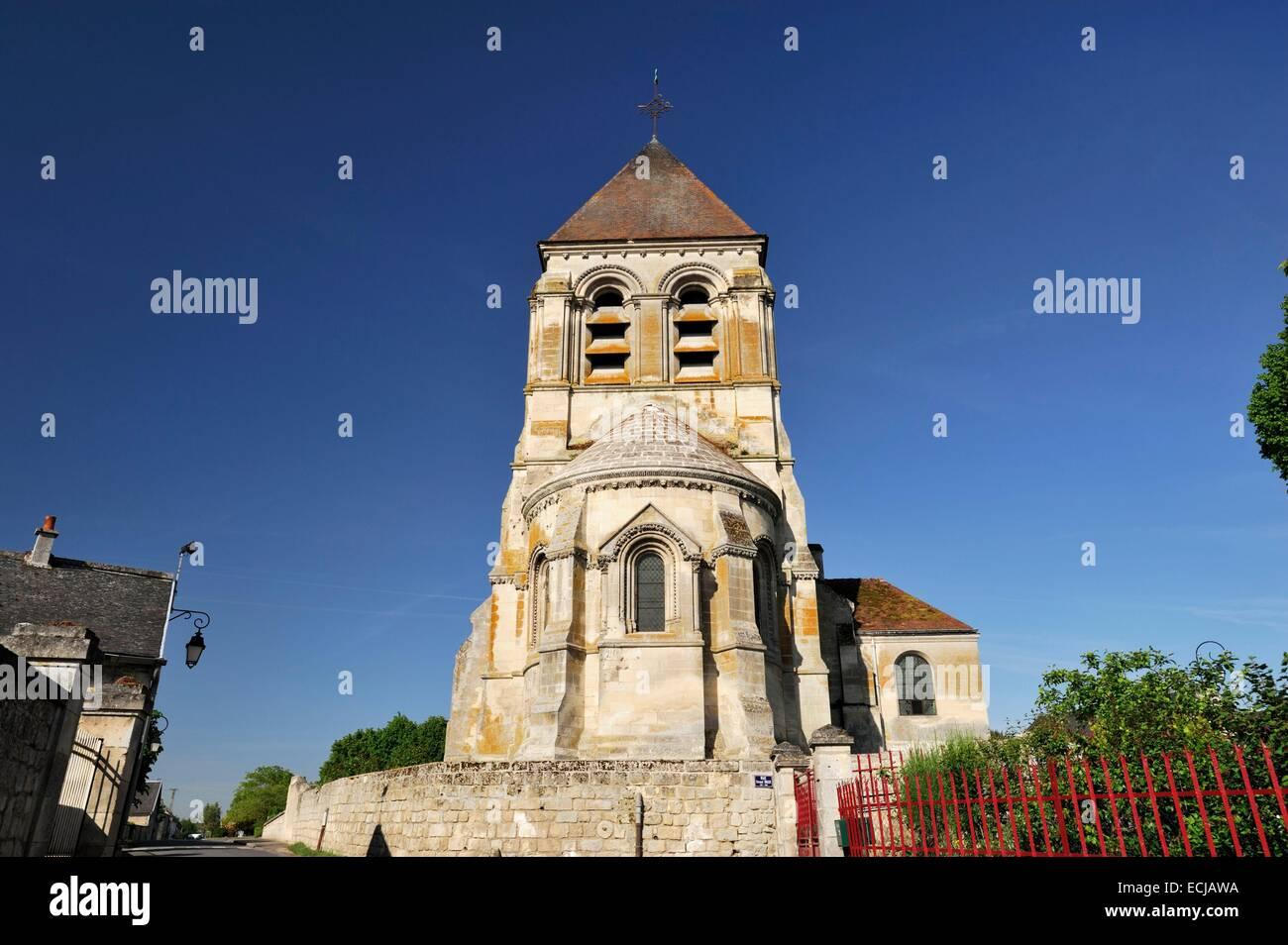 La France, l'Aisne, Berzy le sec, Saint Quentin Eglise datant du 12e siècle Photo Stock