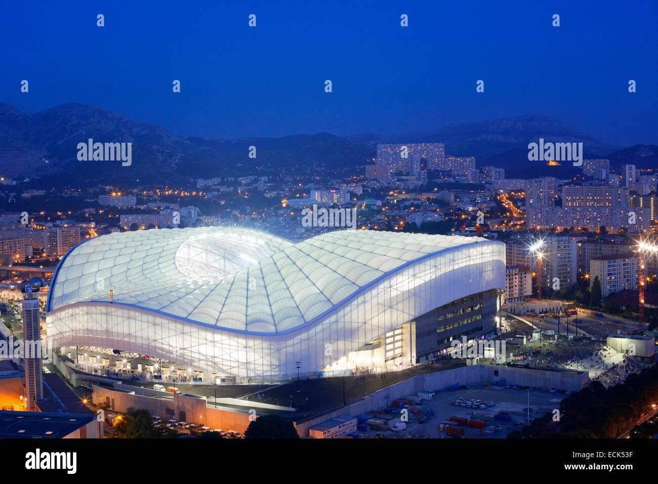 France, Bouches du Rhône, Marseille, quartier Rond Point du Prado, le Stade Vélodrome de l'immeuble Photo Stock