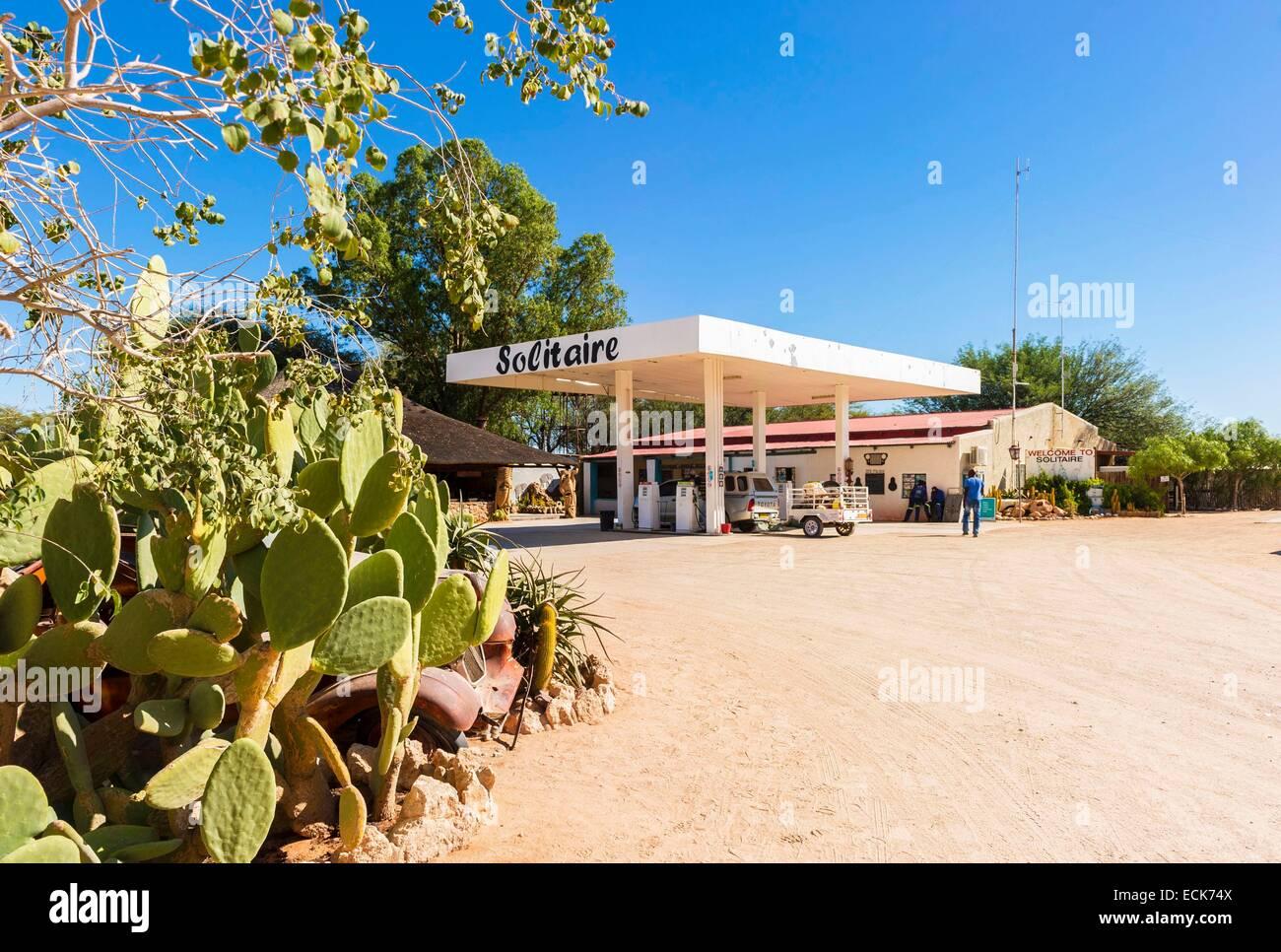 La Namibie Khomas, région, station essence Solitaire Photo Stock