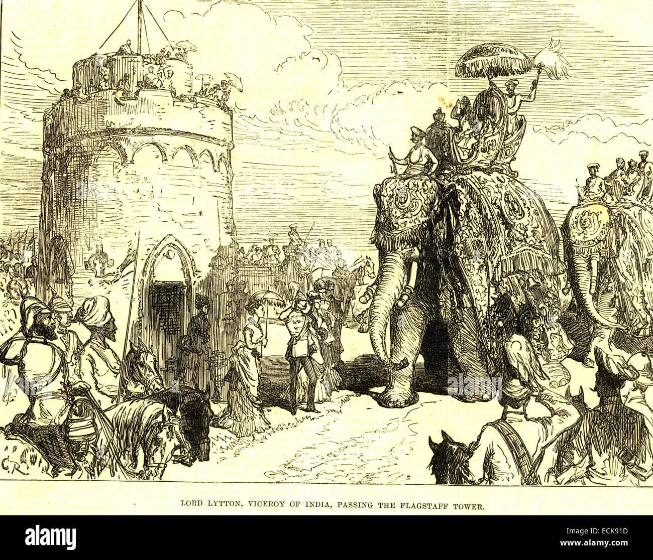 Lord lytton; vice-roi de l'Inde; passant le flagstaff tower Delhi; Inde; Banque D'Images