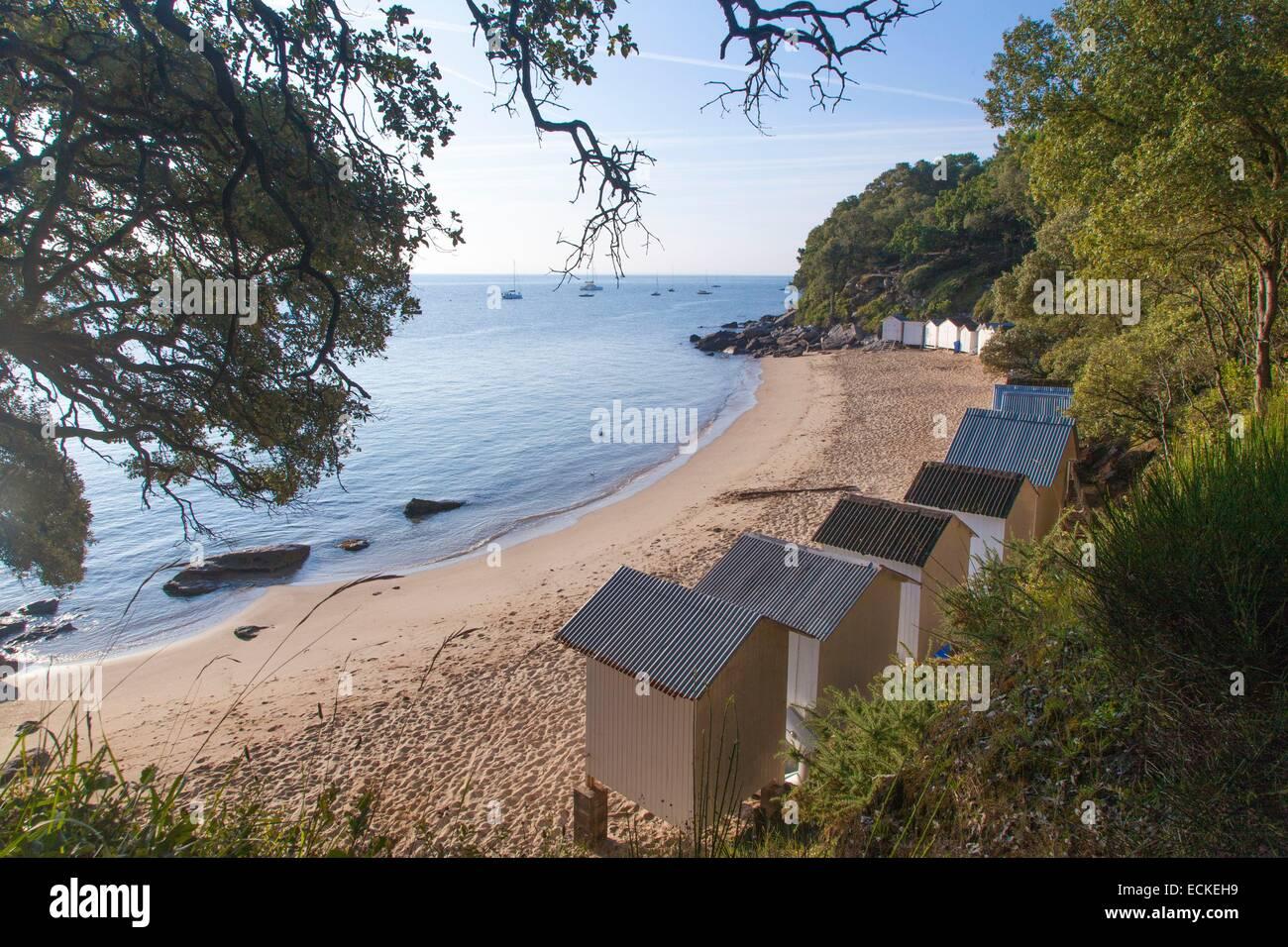 France Vendee Ile De Noirmoutier Le Bois La Chaise Plage Anse Rouge Et Cabines