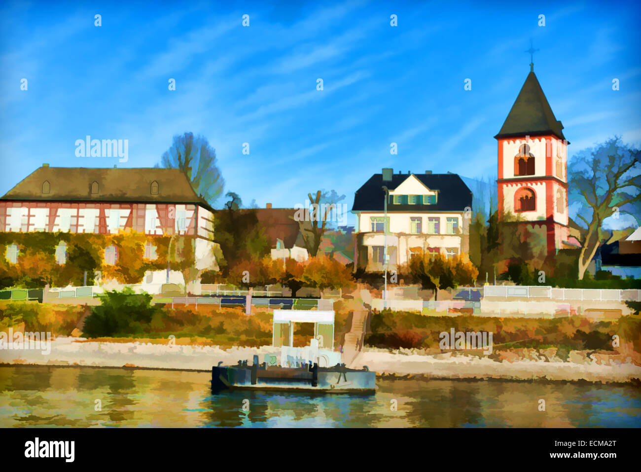 Belle peinture d'un riverside village en Europe Photo Stock