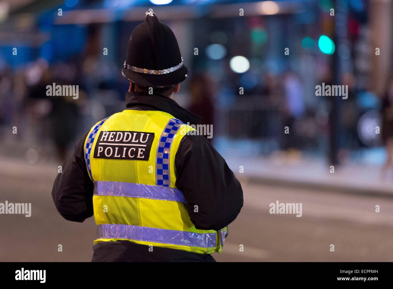 Un agent de police en patrouille de nuit dans le centre-ville de Cardiff. Des centaines de fêtards sont dehors Photo Stock