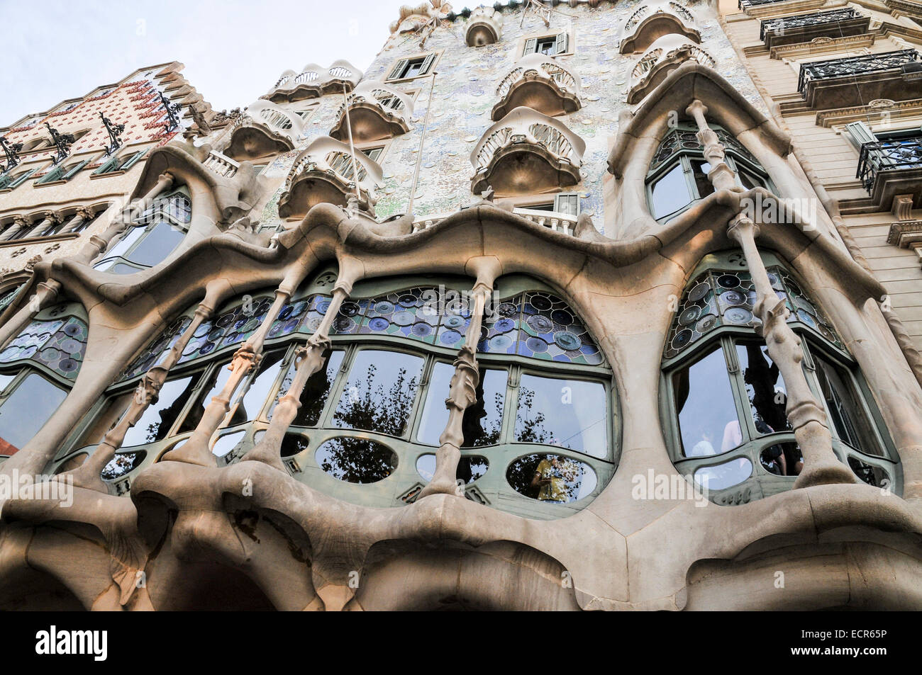 Espagne, Barcelone, Casa Mila (La Pedrera) par l'architecte Antoni Gaudi Photo Stock