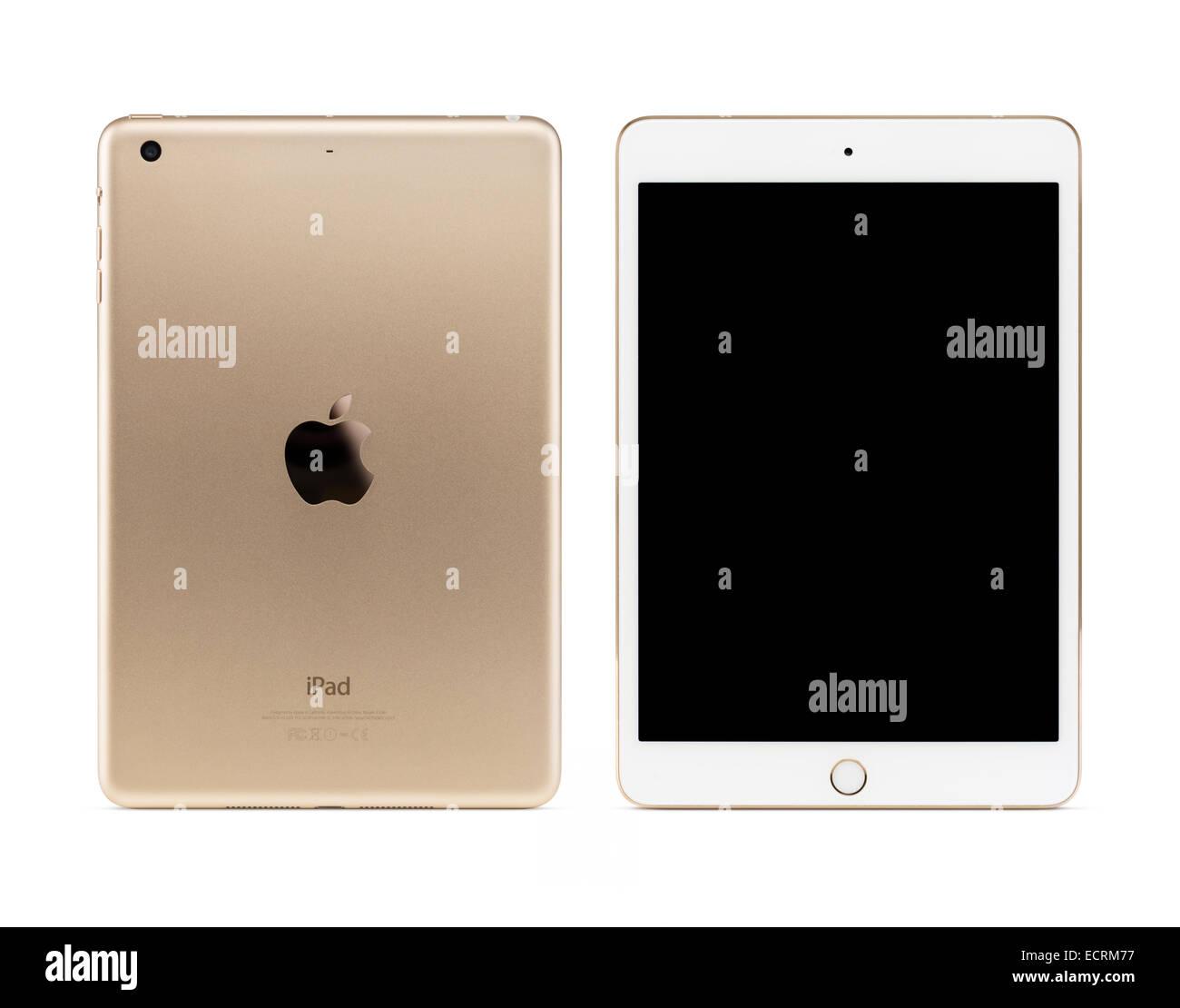 Or Apple iPad Mini tablette 3 Ordinateur avec écran noir, vues avant et arrière isolé avec chemin Photo Stock