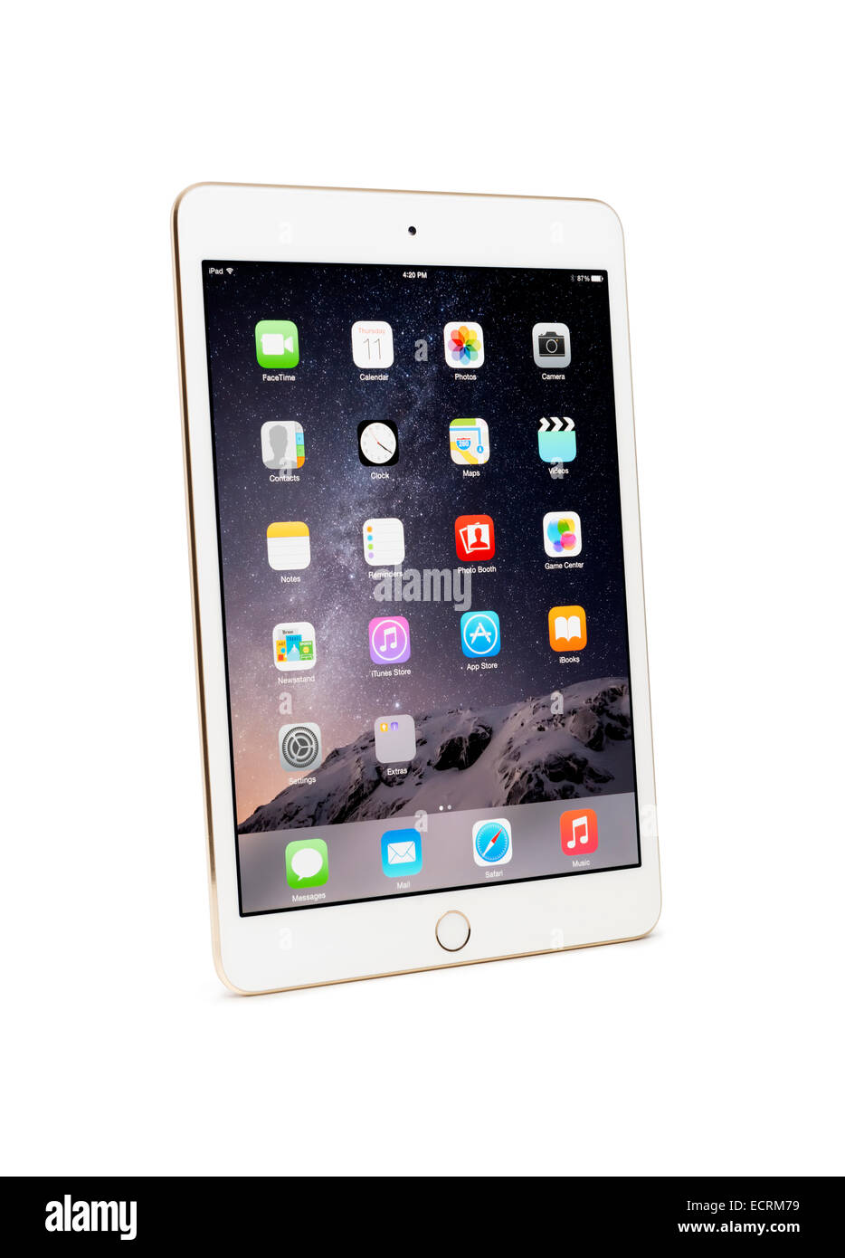 L'or blanc Apple iPad Mini 3 tablet with clipping path isolé sur fond blanc Photo Stock