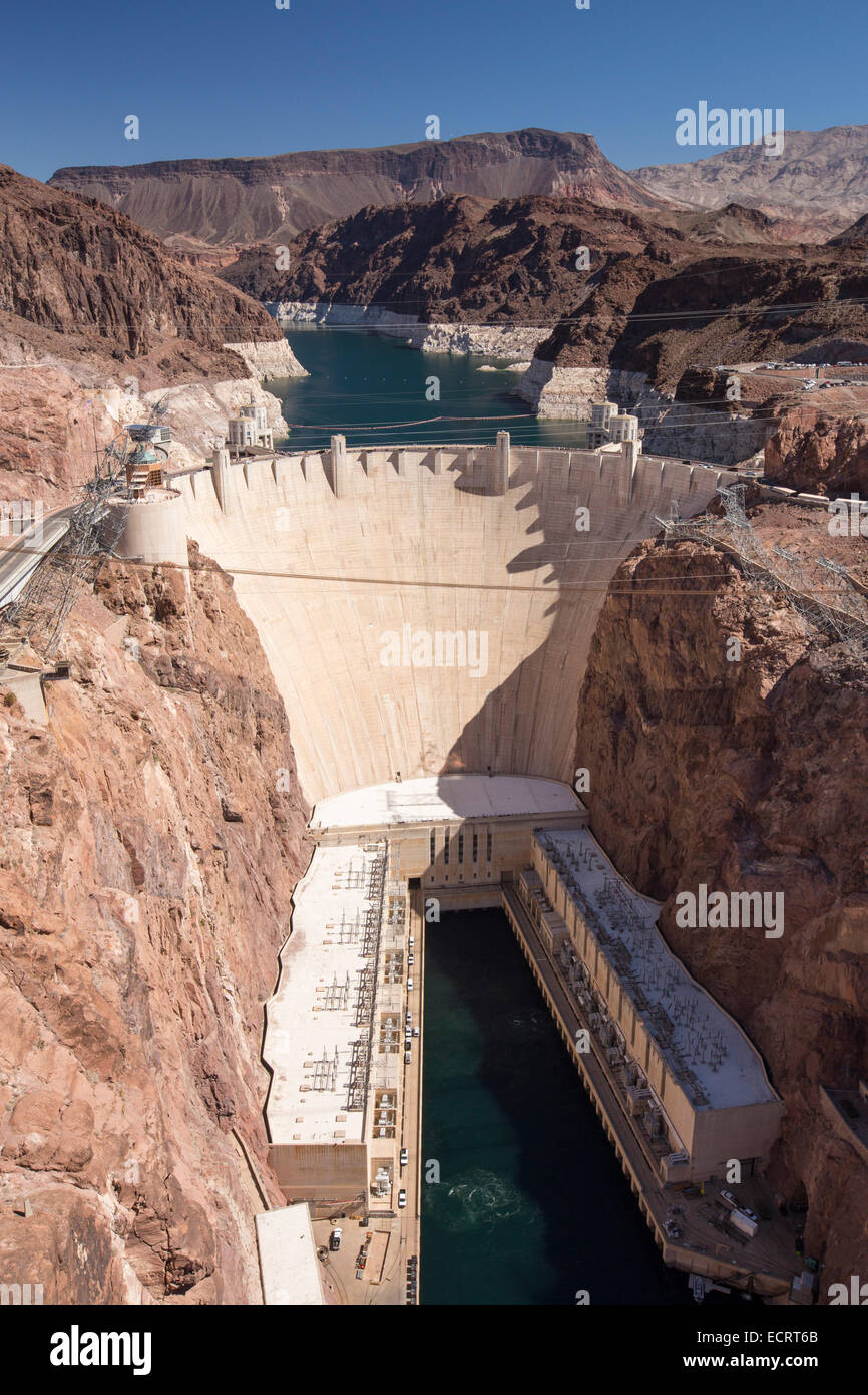 Le Barrage Hoover hydro power station, Nevada, USA. Photo Stock