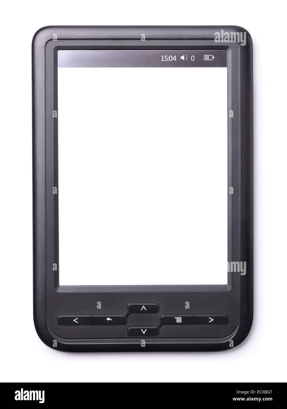 E-Book Reader avec un écran blanc isolated on white Photo Stock