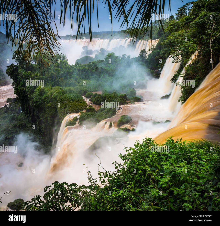 Chutes d'Iguaçu sont les cascades de la rivière Iguazu à la frontière de l'Argentine et le Brésil Banque D'Images