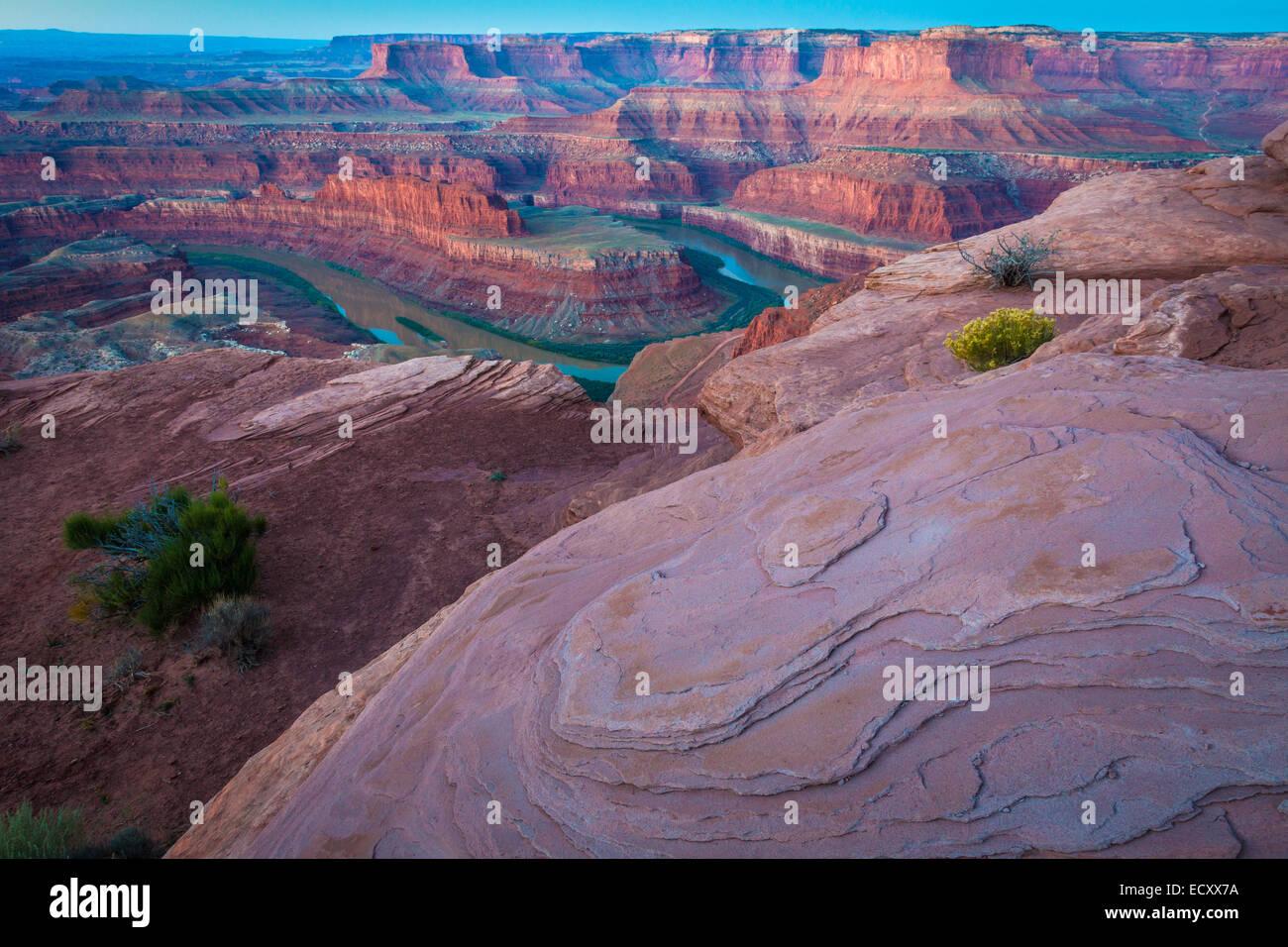 Dead Horse Point State Park est un parc d'état de l'Utah aux États-Unis, et son spectaculaire donnent sur de la Banque D'Images