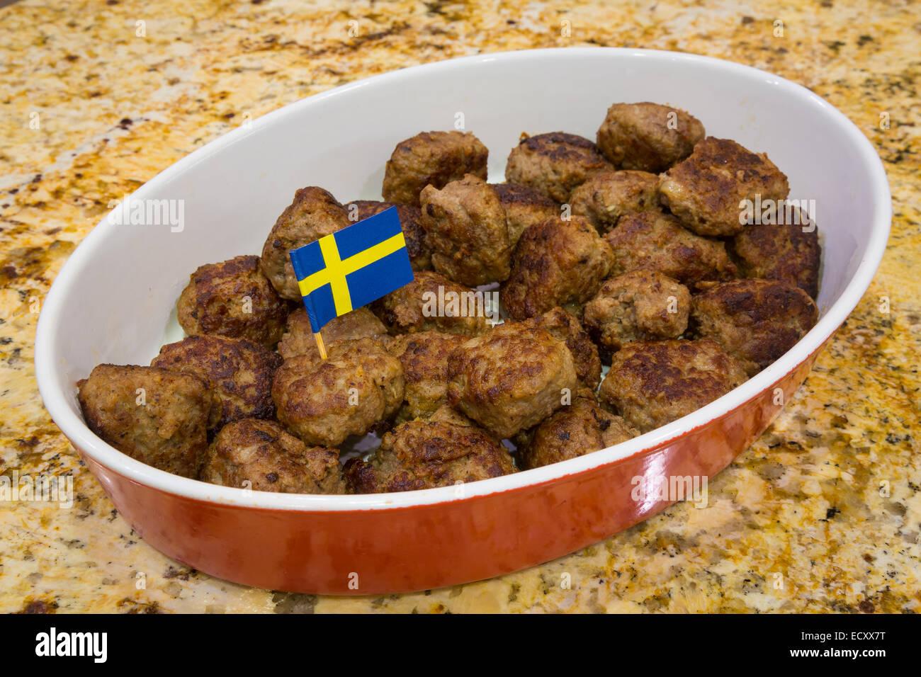 Suédois typique plat de boulettes Photo Stock