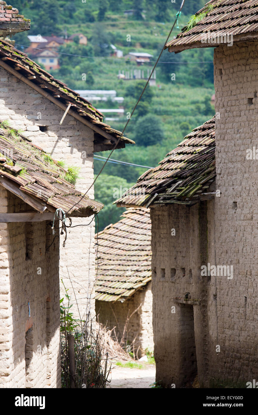 Architecture traditionnelle dans la vallée de Katmandou, Népal Photo Stock
