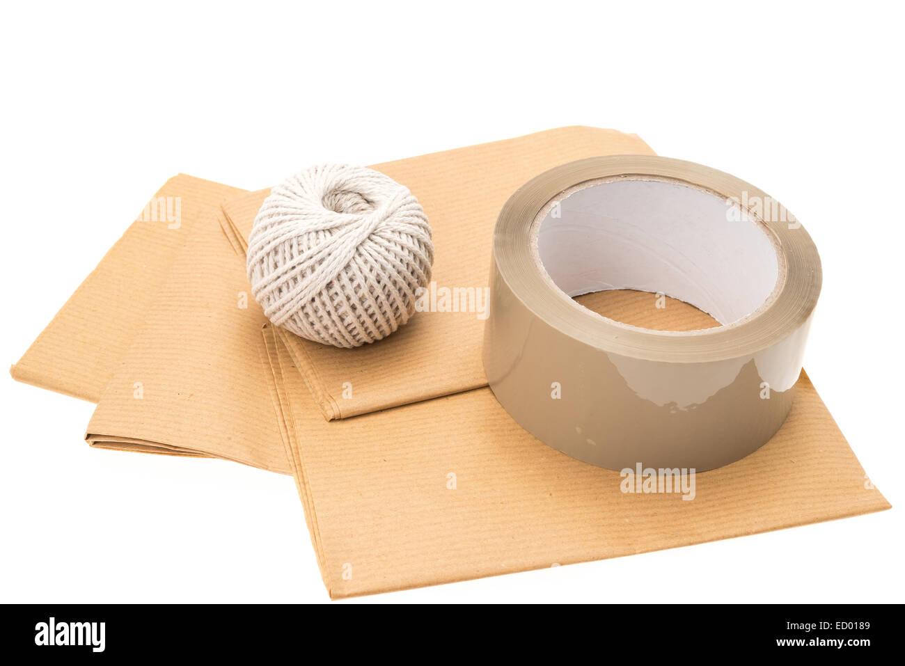 Trois éléments essentiels pour un paquet enveloppé avec succès - du papier d'emballage, Photo Stock