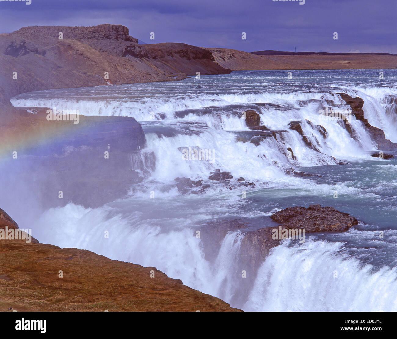 Cascades de Gullfoss, Hvítá Canyon, région du sud-ouest, République d'Islande Photo Stock