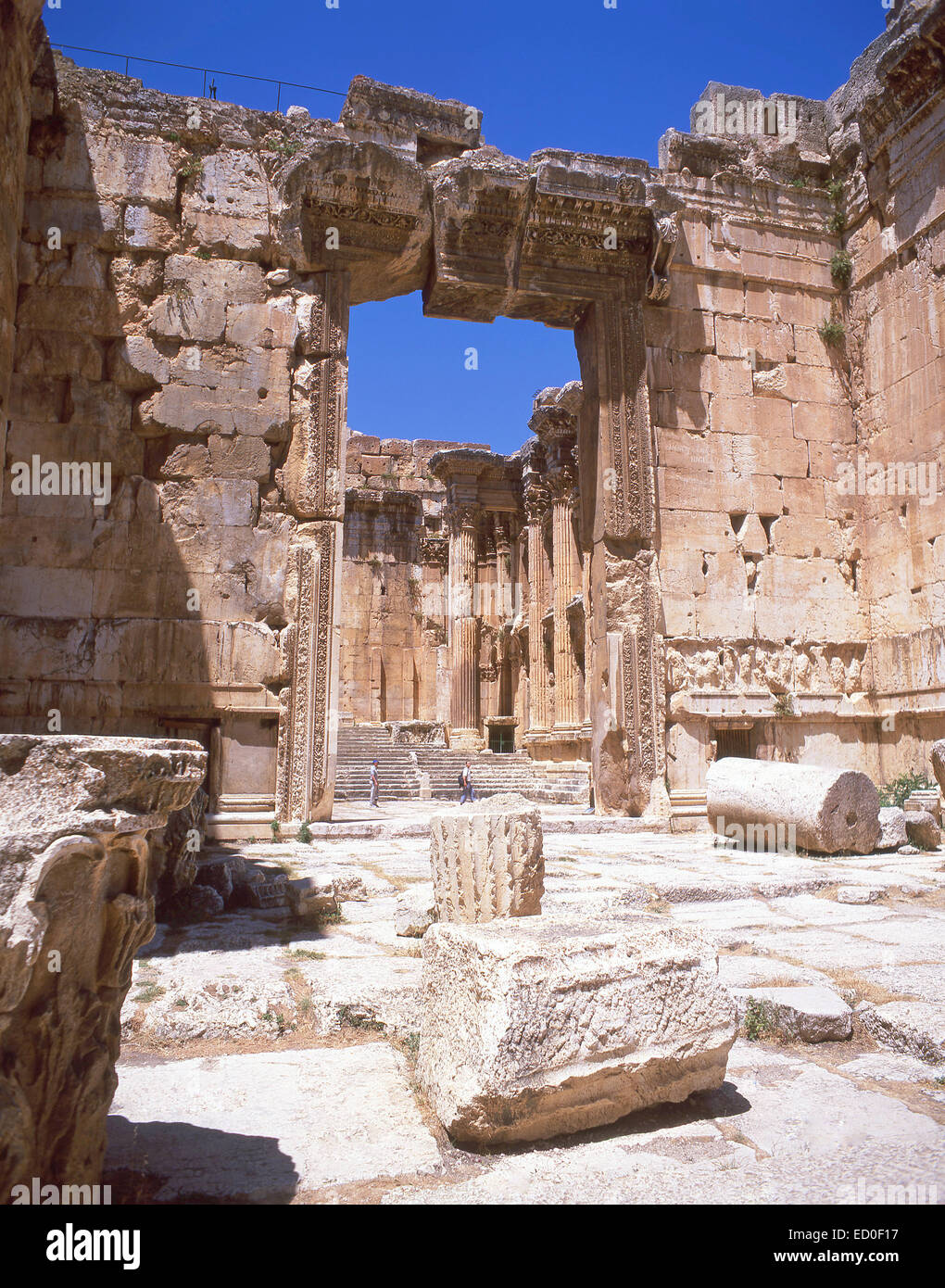 Entrée au Temple de Bacchus, Baalbeck, Bekaa, République du Liban Photo Stock