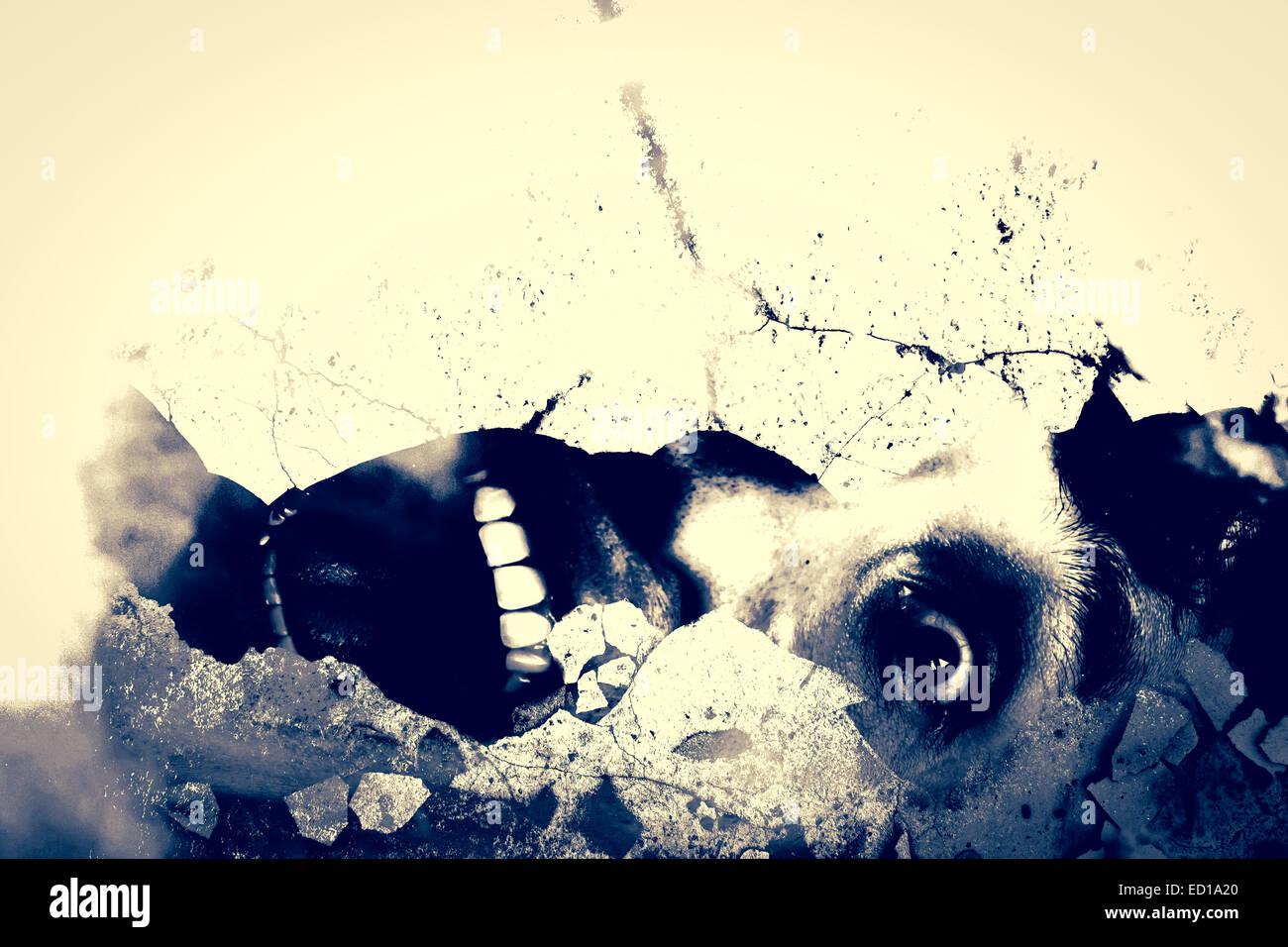 Ghost Homme Crier Sur Shattered Grunge Serie Mur Arriere