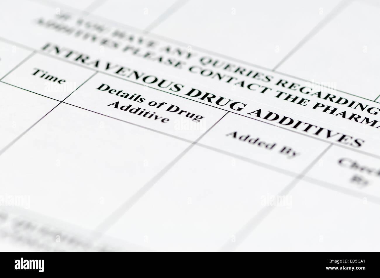 Les étiquettes utilisées pour enregistrer les additifs à l'infusion intraveineuse standard. Photo Stock