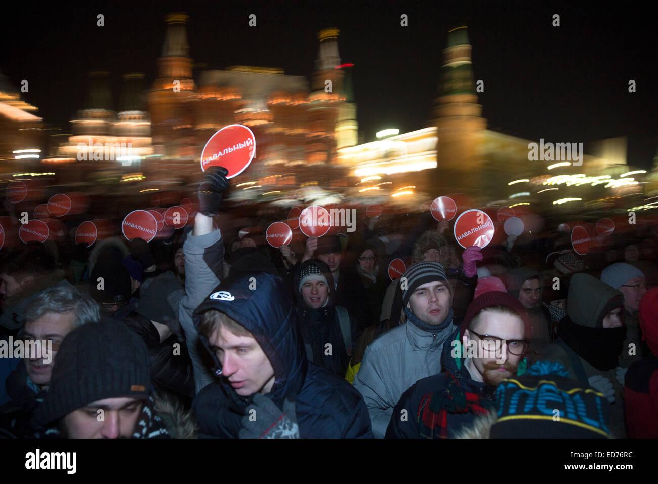 Moscou, Russie. 30 Déc., 2014. Les partisans du chef de l'opposition russe Alexei Navalny tenir un rassemblement Photo Stock