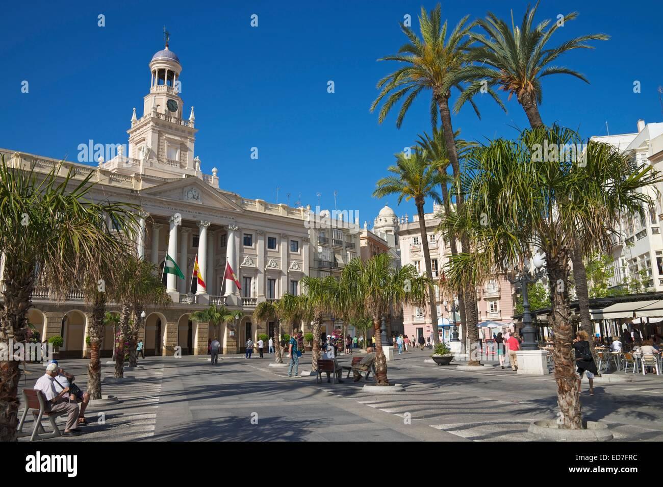 Plaza San Juan de Dios avec la Mairie, Cadix, Costa de la Luz, Andalousie, Espagne Banque D'Images