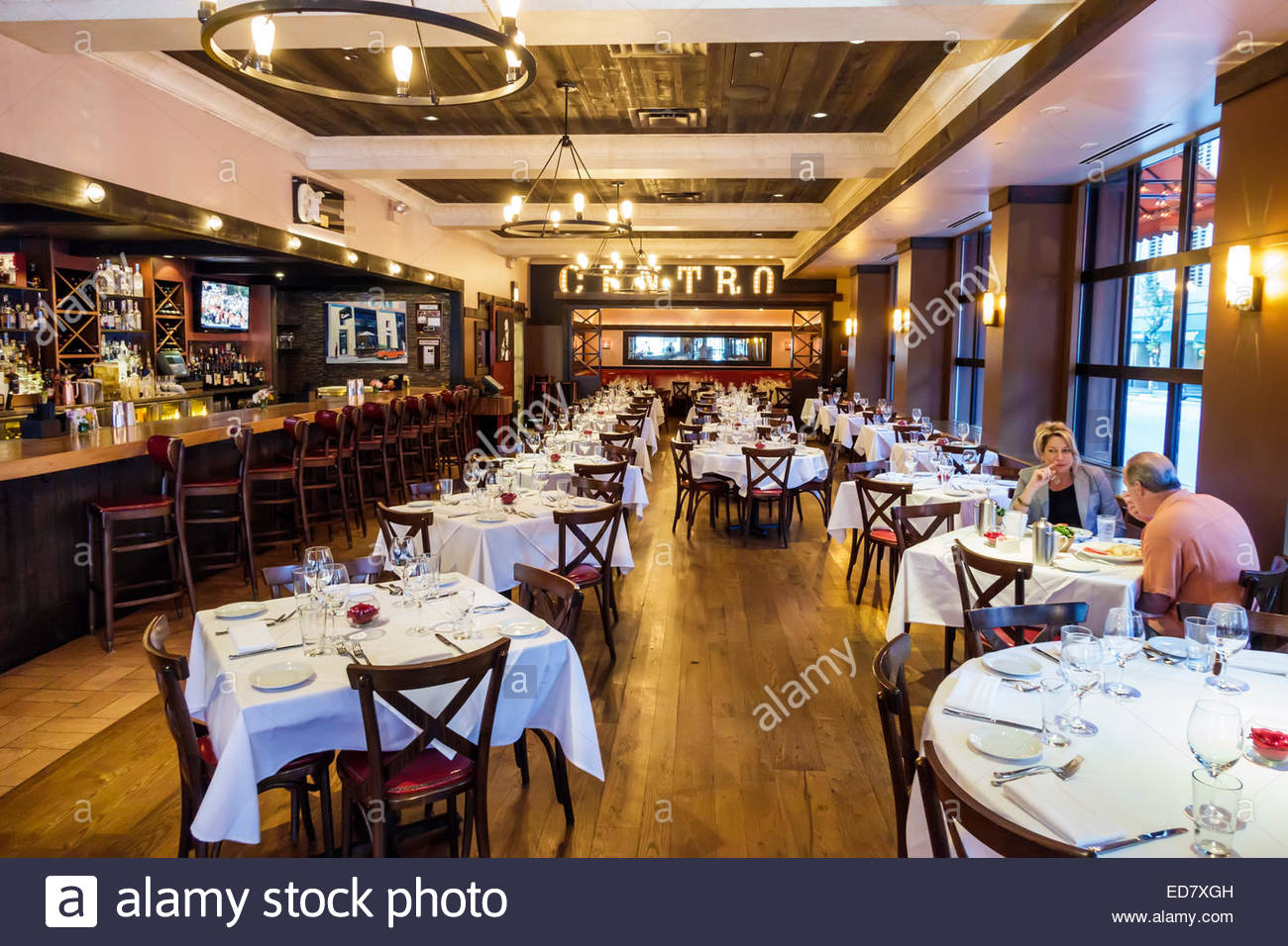 Chicago Illinois River North downtown Centro Ristorante restaurant italien à l'intérieur vide de l'intérieur Photo Stock