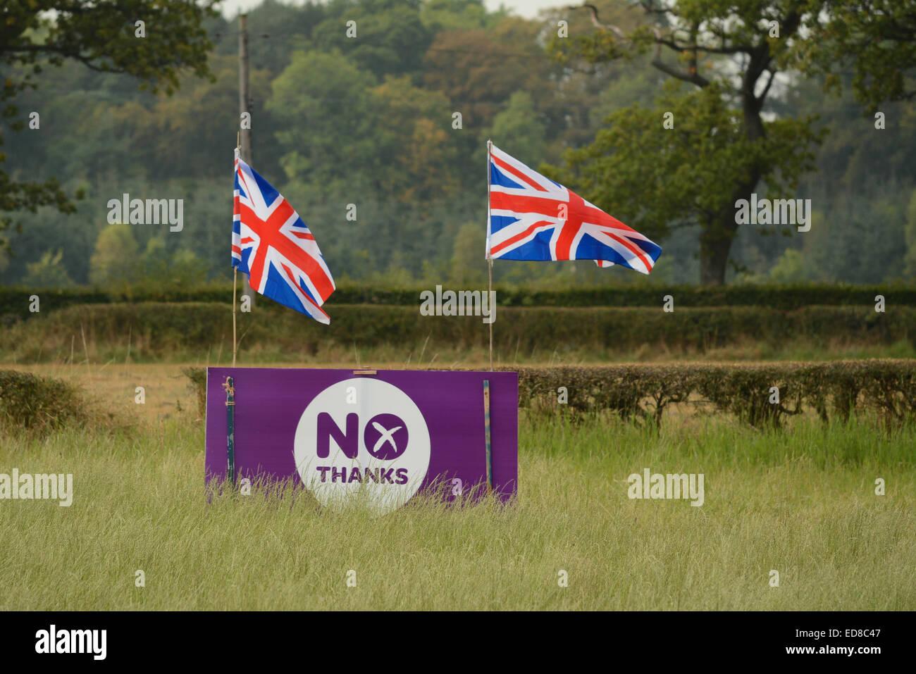 L'indépendance écossaise - Violet 'Non merci' signe le référendum pour l'indépendance Photo Stock